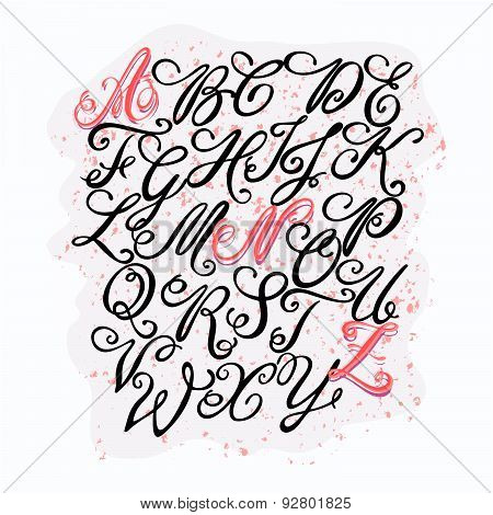Vector Hand Drawn Elegant Alphabet. Delicate Letters Written With A Calligraphy Pen, Inspiration For