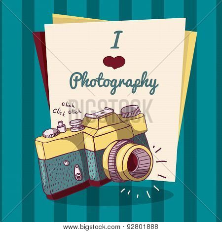 Invitation template or poster in retro style with retro camera. Place for your text. vector
