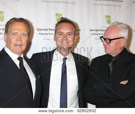 LOS ANGELES - JUN 2:  Lee Majors, Roy Price, Malcolm McDowell at the United Friends of the Children Brass Ring Awards Dinner at the Beverly Hilton Hotel on June 2, 2015 in Beverly Hills, CA