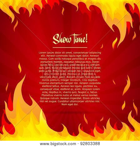 Template greeting card with red background. Frame of fire. Place for your text. Vector