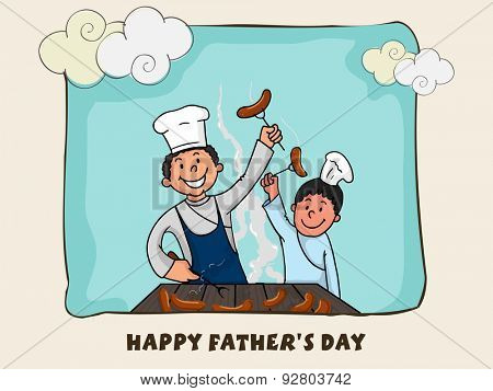 Father and son enjoying cooking together on sky blue background for Happy Father's Day celebration.