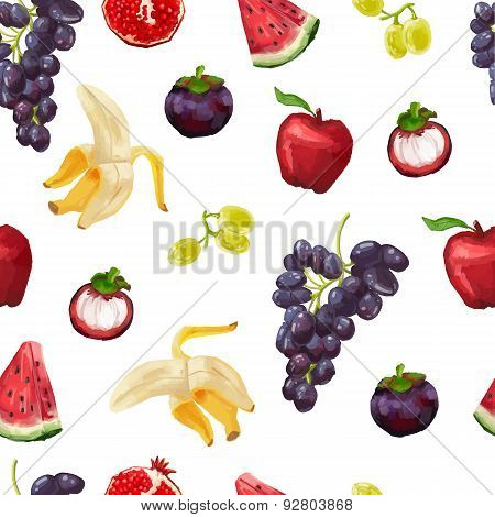 Seamless pattern with tropical fruits and grapes. Watercolor style. vector.