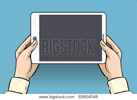 Hands holding tablet computer, vector illustration