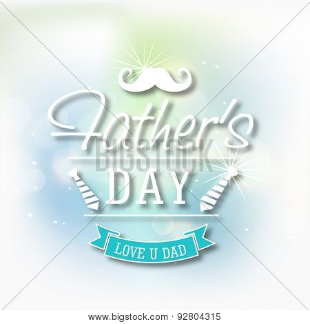Elegant greeting card design with white mustache and neckties for Happy Father's Day celebration.