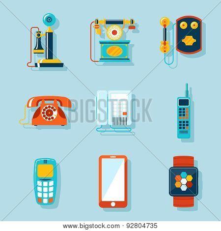 Flat phone icons