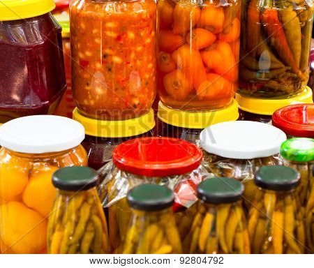 Chilli peppers paprika in glass jars