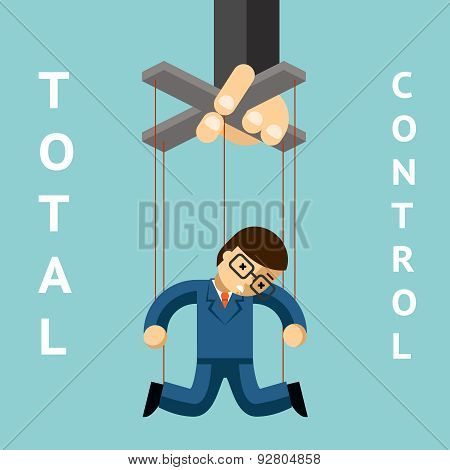 Total control. Businessman puppet