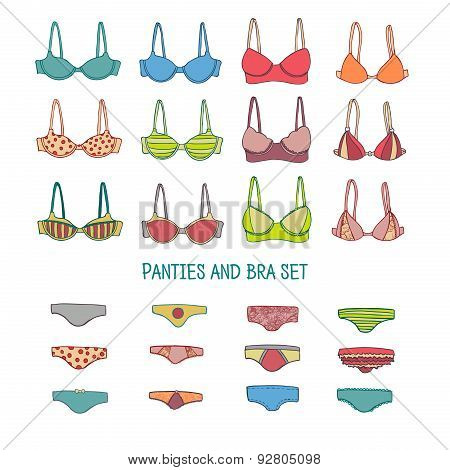 Set of underwear. Colored bras and panties in hand-drawn doodle style. Vector.