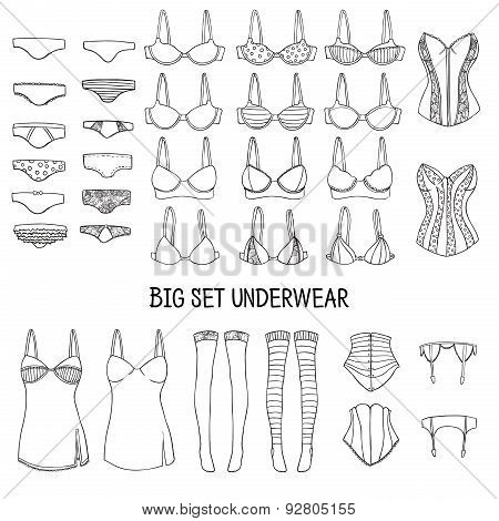 Big set of underwear. Lingerie of the hand-drawn in the sketch, doodle style. Vector.