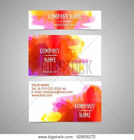 Business card template. Rad and yellow watercolor texture. Abstract splash. Place for your text, log
