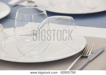 Tableware With Dishes And Cups Detail In A Restaurant