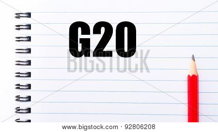 Word G20 Written On Notebook Page