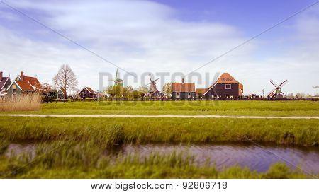 Windmills And Rural Houses In Zaanse Schans. Tilt-shift Effect