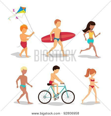 People on the beach in flat style design