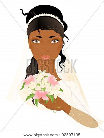 Portrait Of Beautiful African-american Bride