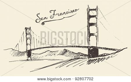San Francisco Bridge Vintage Engraved Illustration