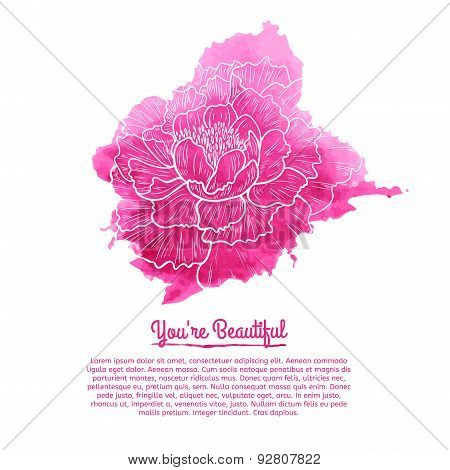 Template cards. Pink watercolor stain with a linear pattern peony. Place for your text. Vector.