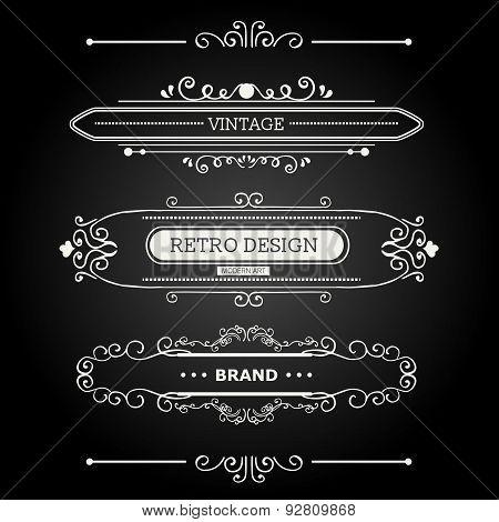 Set of Vintage Decorations Elements.