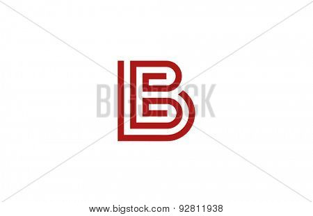 Letter B Logo vector alphabet design element template. ABC concept type as logotype. Typography icon line art