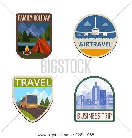 Travel Vintage Labels vector icon design collection. Shield banner sign. Tourism Logo. Tent, Canvas, Airplane, Bus, Cityscape flat icons.