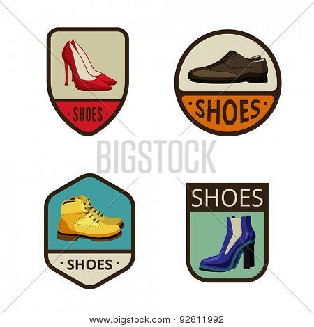Shoes Vintage Labels vector icon design collection. Shield banner sign. Footwear Logos. Elegant male and female shoes, boots flat icons.