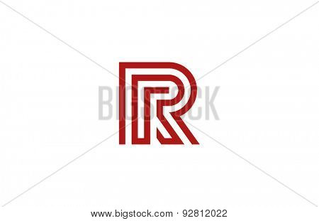 Letter R Logo vector alphabet design element template. ABC concept type as logotype. Typography icon line art