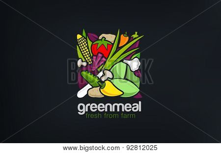 Mix Vegetables Logo design vector template square shape. Vegetarian food Logotype concept. Shop, Market concept idea