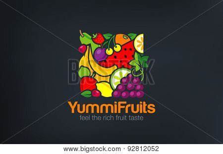 Mix Fruits Logo design vector template square shape. Vegetarian food Logotype concept. Shop, Market concept idea