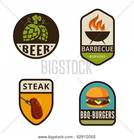 BBQ Grill Vintage Labels vector icon design collection. Shield banner sign. Barbeque Cooking Logos. Burger, Beer beans, Roaster, Steak flat icons.