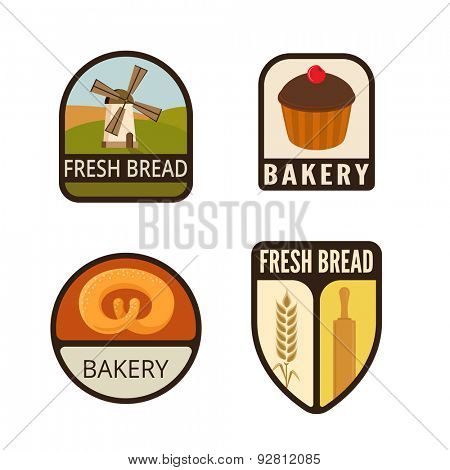 Bakery Vintage Labels vector icon design collection. Shield banner sign. Shop, Store Logo. Mill, Spike, Bread, Cake flat icons.