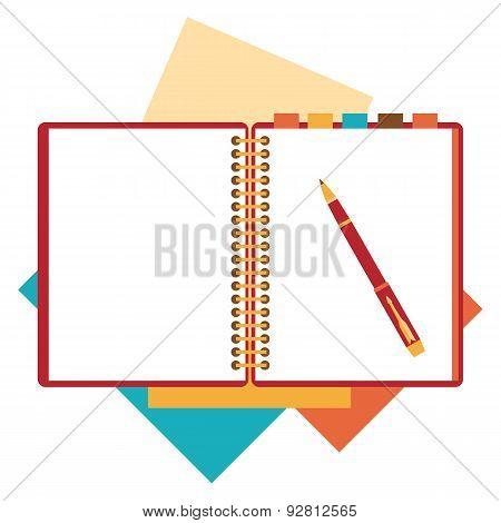 Flat design notepad, paper sheet.