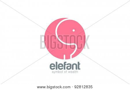 Elephant logo circle design vector template. Zoo Logotype funny icon.