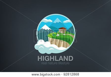 House in Mountains Logo Travel  eco design vector template. Green Farm ecology products Logotype. Adventure trip icon.