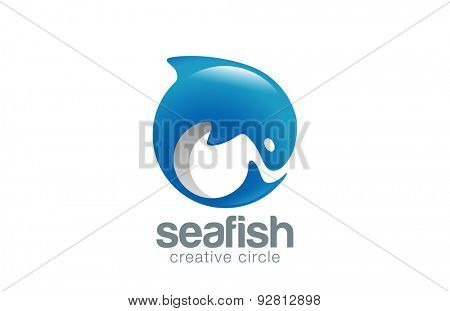 Abstract Fish Logo Dolphin design vector template. Fish Market Store Shop Logotype concept icon.