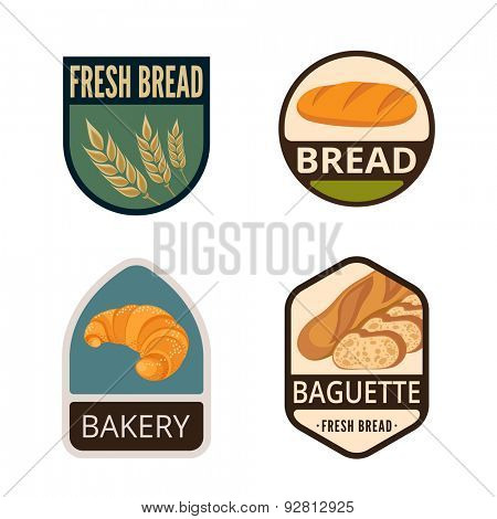 Bakery Vintage Labels vector icon design collection. Shield banner sign. Shop, Store Logo. Baguette, Spike, Bread, Croissant flat icons.