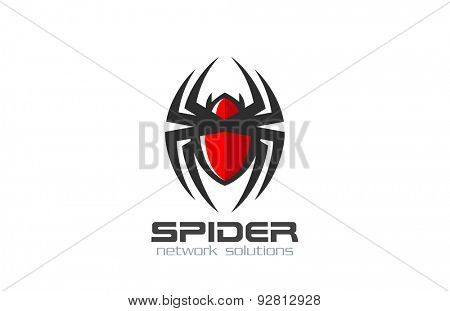 Spider Logo design vector template. Internet Web spy technology Logotype icon.