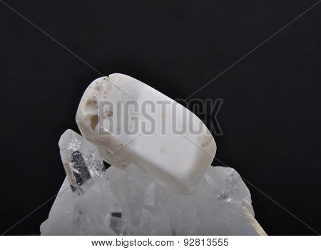 Magnsite On Rock Crystal
