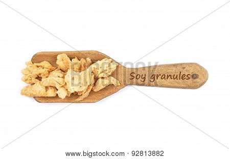 Soy Granules On Shovel