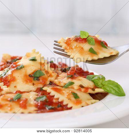 Italian Cuisine Eating Ravioli With Tomato Sauce Meal