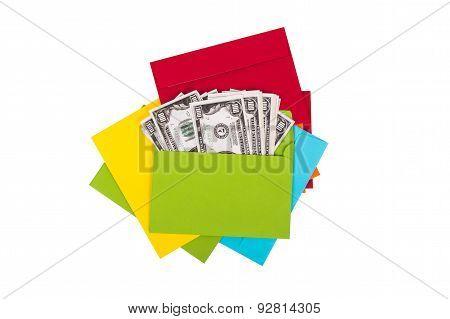 Dollar Banknotes Inside Envelope