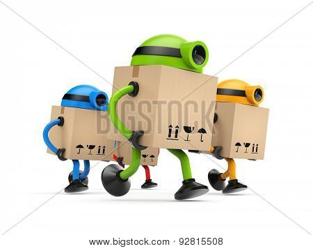 Group of robots postman