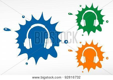 Vector Headphones On Color Blob