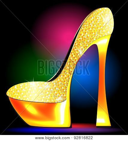 festive golden shoe