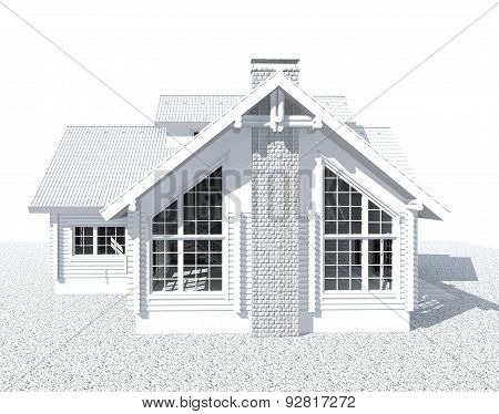 3D White Architecture Model House  Isolated On White