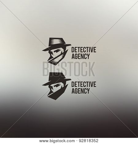 Private Detective Vector Logo. Vintage style illustration.
