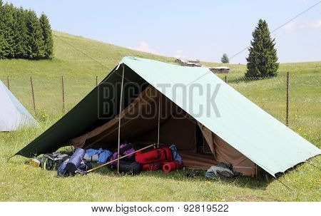 One Tent Of A Campsite Of The Boy Scouts In Summer