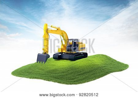 Island With Heavy Excavator Machine Floating In The Air On Sky Background