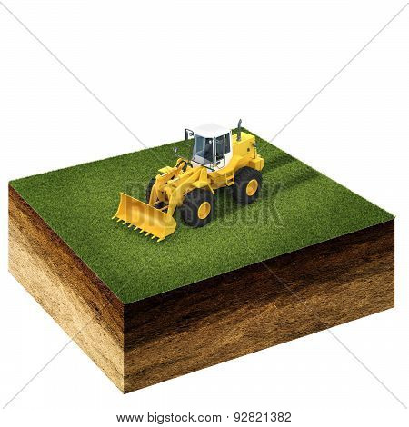 Front End Loader On Grass