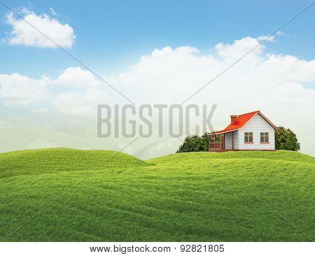 Landscape With House And Bushes Isolated On White