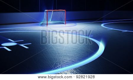 Hockey ice rink and goal. Scratches on ice. Shining lines on ice.
